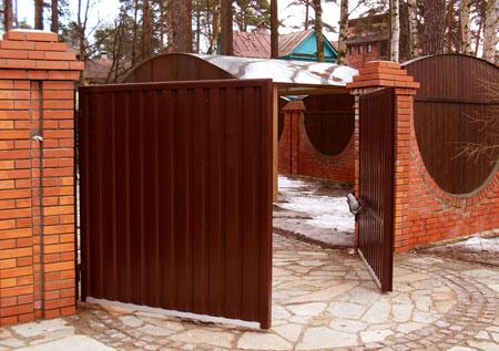 Распашные ворота, открывающиеся наружу