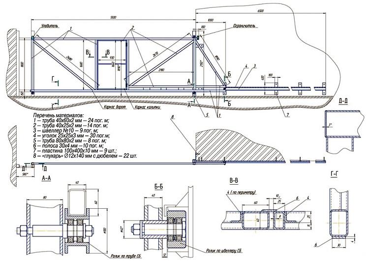 Схема откатных гаражных ворот