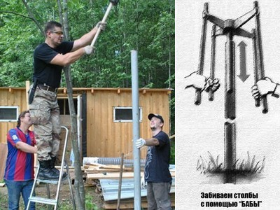 Способ забивания столбов в землю