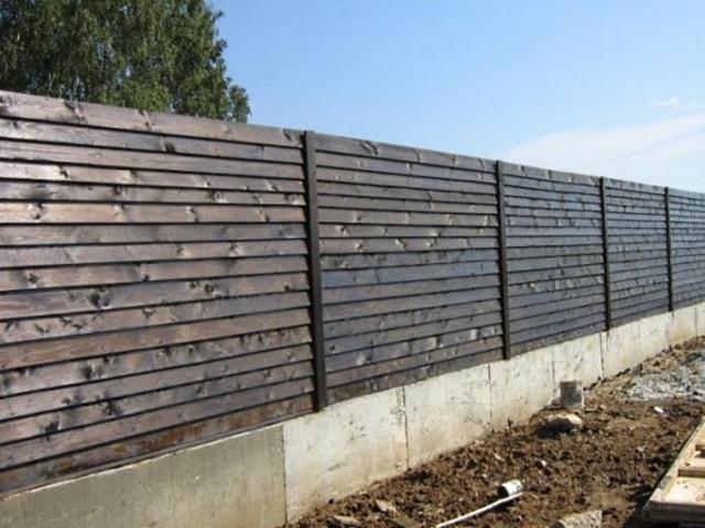 Деревянный забор с ленточным фундаментом