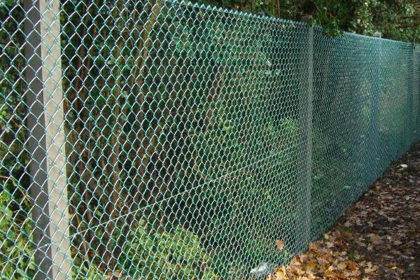 Забор из сетки рабицы с бетонными столбами