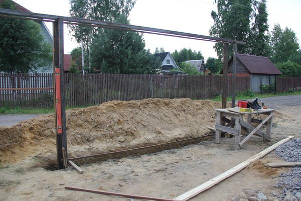 Установка рамы для откатных ворот
