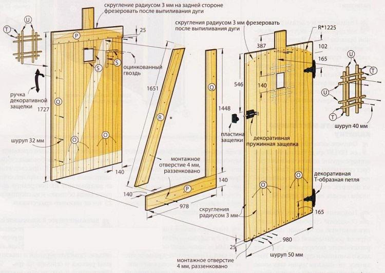 Схема установки калитки из дерева