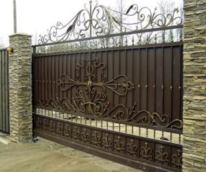 Фото кованых откатных ворот