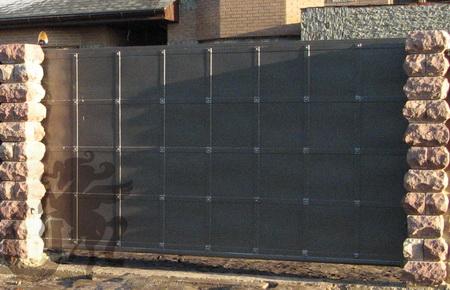 Автоматические откатные металлические ворота
