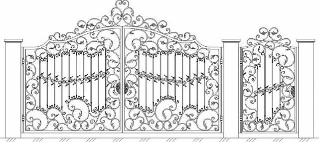 Эскиз кованых ворот в стиле барокко