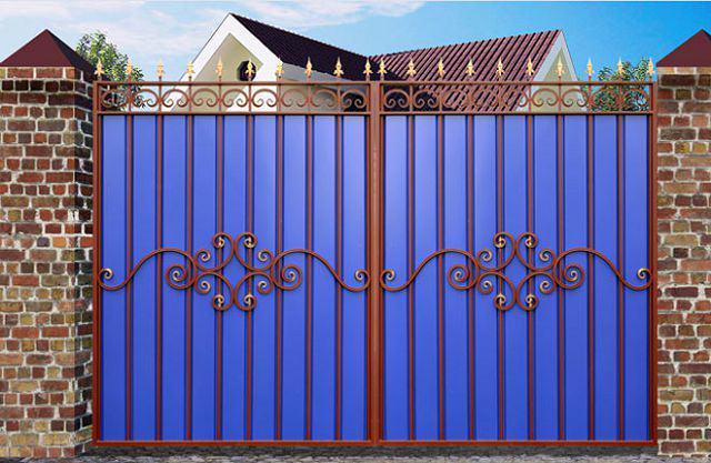 Ворота с профнастилом кованые