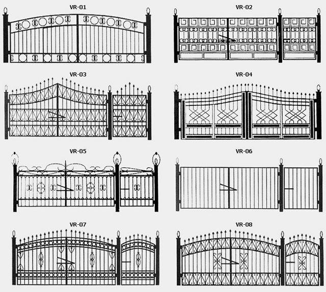 Эскизы различных видов кованых ворот